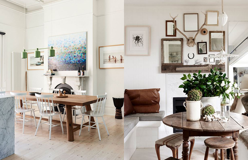 (left) We love the materials palette and decorative flourishes in  James Tutton's former Coburg home . Though grand in scale, the use of a soft palette, overhead pendant lighting and artwork makes this space feel welcoming and relaxed. Photo –  Eve Wilson . Production – Lucy Feagins / The Design Files. (right)  Kara Rosenlund 's dining area feels personal and inviting, with the table surrounded by treasured collections. Photo –  Eve Wilson . Production – Lucy Feagins / The Design Files.