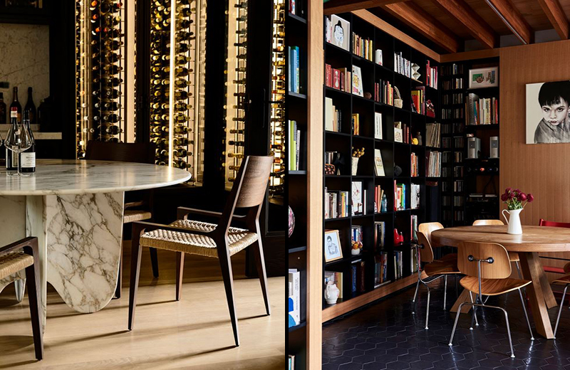 (left) A moody dining experience surrounded with wine, in the spectacular home of Bear Agushi in Armadale, designed by Workroom, with interior decoration and styling by Simone Haag. Does it get much better? Photo – Derek Swalwell. (right) The dining space in the  Northcote home of Tai Snaith and family . Keeping books at hand in the dining area is not only practical, but looks so inviting. Photo –  Eve Wilson . Production – Lucy Feagins / The Design Files.