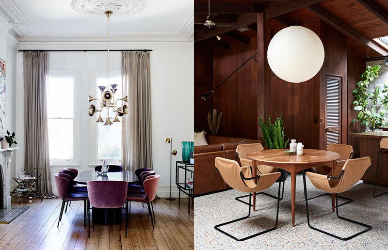 (left) Lighting selection isn't always just about practicality, it can also be something adds real wow-factor to space. In the home of Penelope Cohen, the Creative Director of  Skin and Threads,  interior designer  Simone Haag  used dramatic overhead lighting as a focal point, with this amazing pendant from  Delightfull . Photo –  Mark Roper . (right) An oversized paper pendant lamp is a wonderful addition to the open plan living area in this  Warrandyte home.  La Calma leather sling chairs by  Plutonic , and  Akari  light sculpture overhead. Photo –  Eve Wilson .