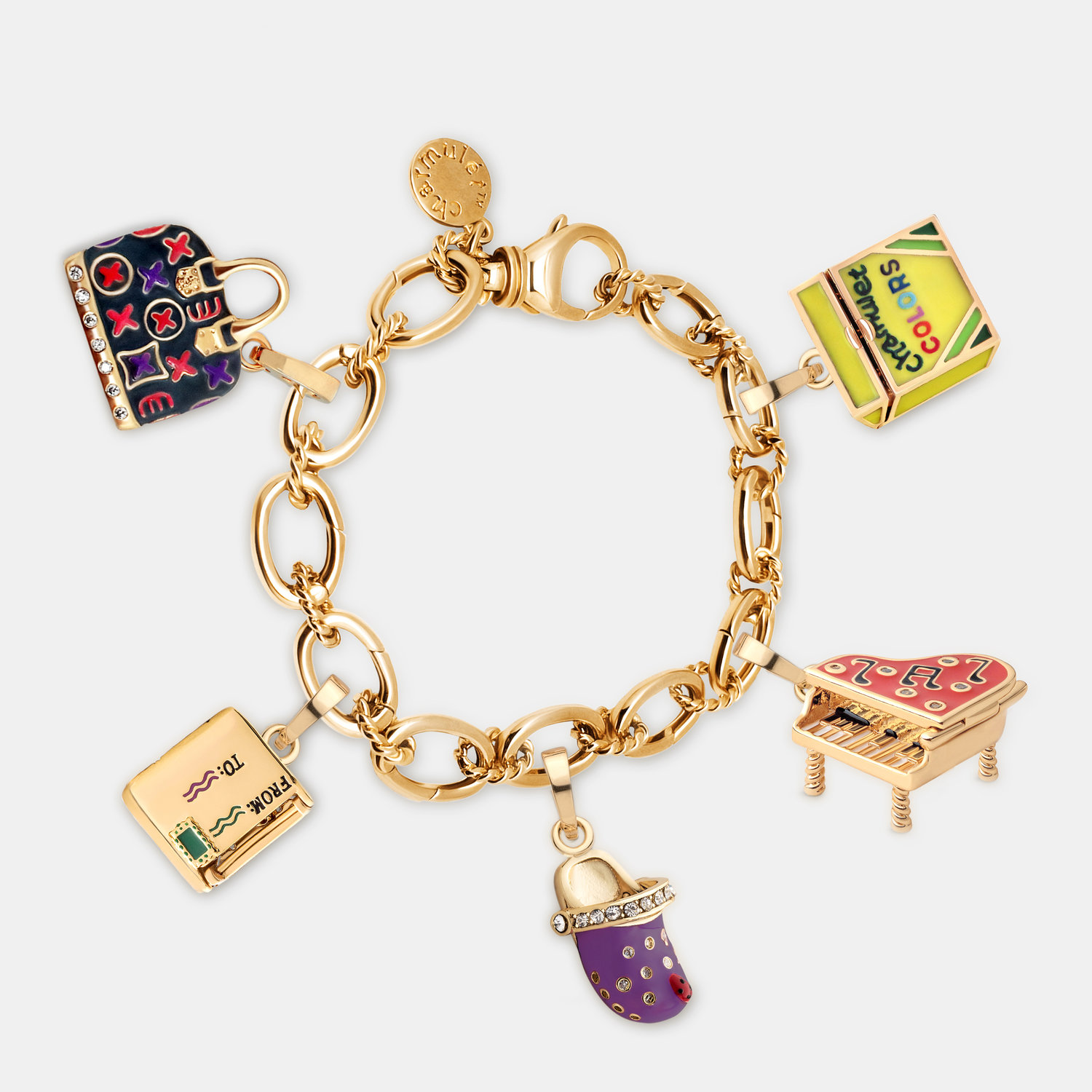 Charm Bracelet 14k Gold Plated With 5
