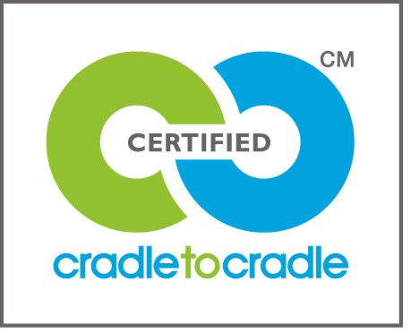 The Cradle to Cradle certification logo (depicting circular economy loops that integrate the biosphere and technosphere).