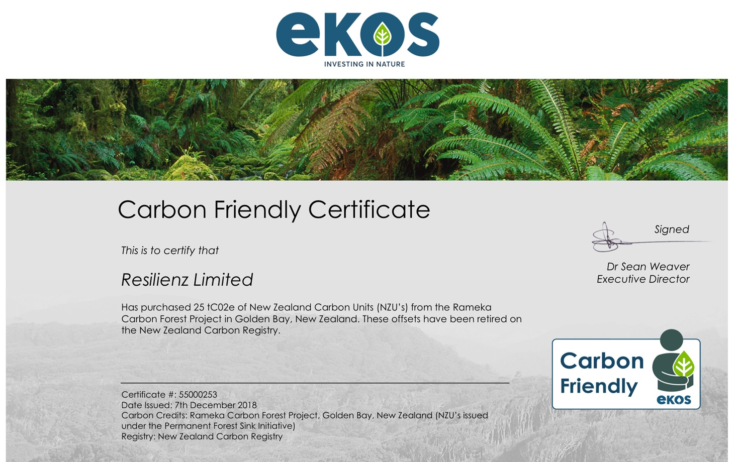 Ekos certificate for Resilienz Block One Offsets