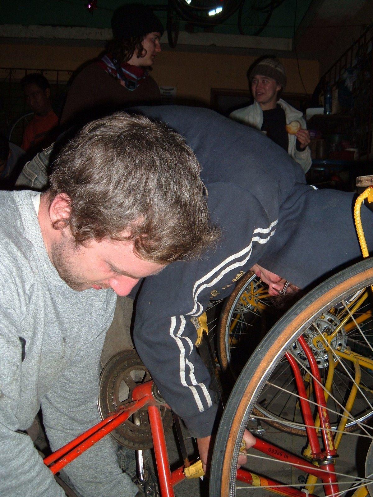 Matthew and Beth chop up a bike