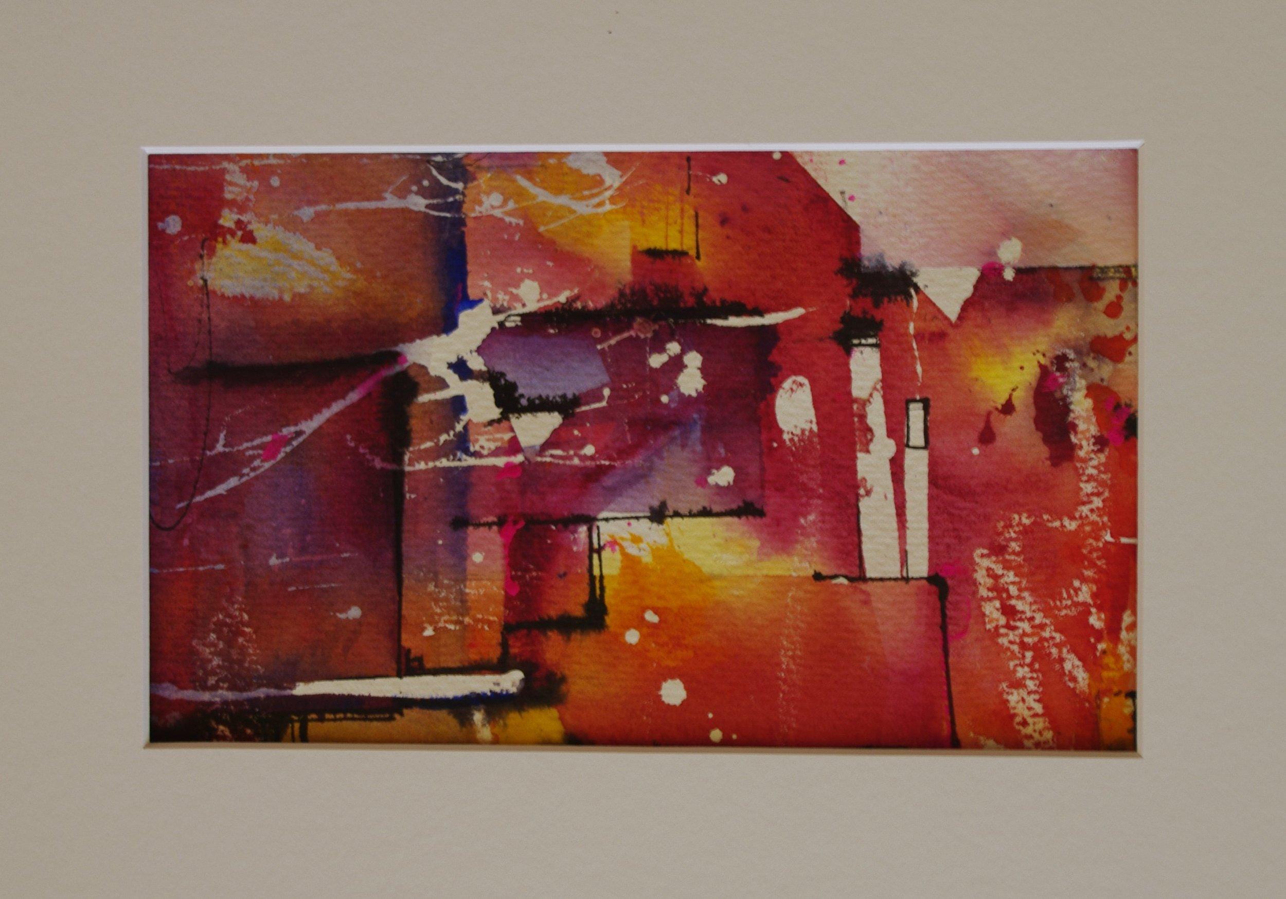 Abstract Orange  21cm x 13cm  Original Watercolour  Unframed   $85