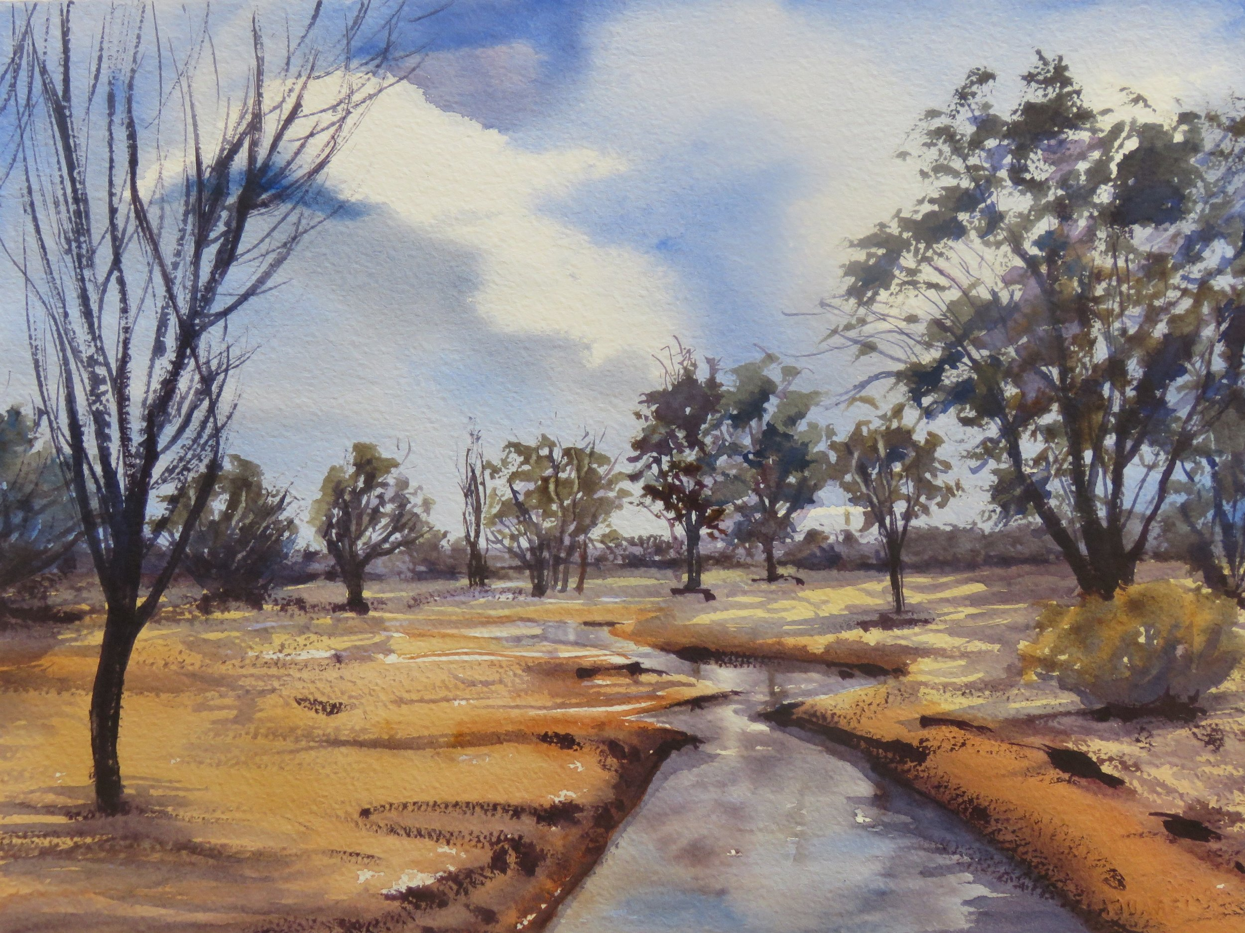 Country Scene  36cm x 26cm  Original Watercolour   Unframed   $150