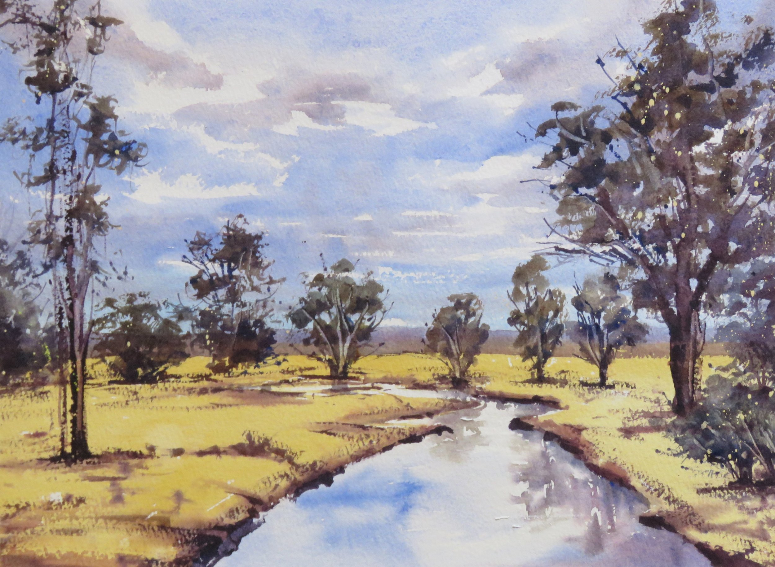 A small painting of trees and creek..jpg