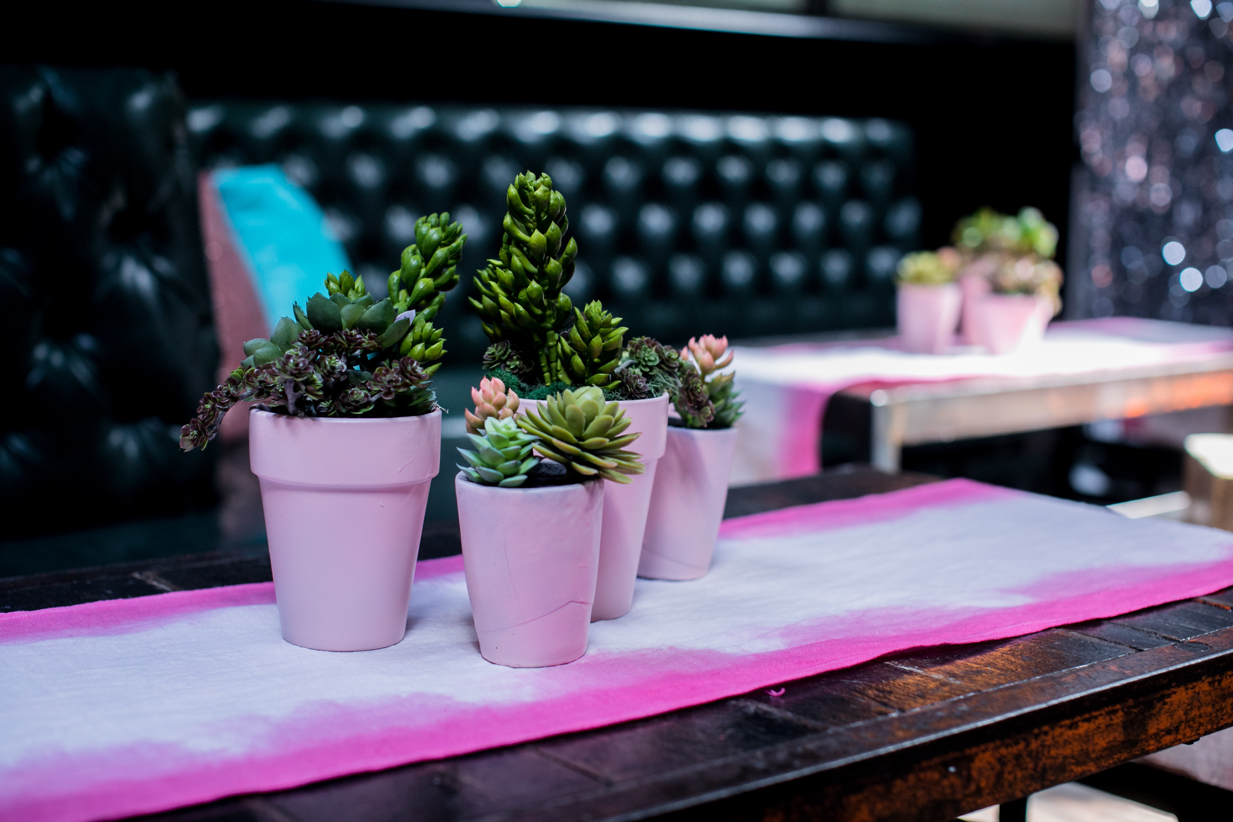 Event Design & Fabrication : Brooklyn Bowl Roxyfest Hand Dyed Table Runners