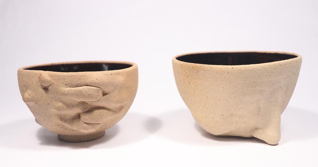 Fist to Cheek, Ceramics, Cone 6 Oxidation, Left: 5.5 x 5.5 x 3.5, Right: 6 x 6 x 3.5in, 2017