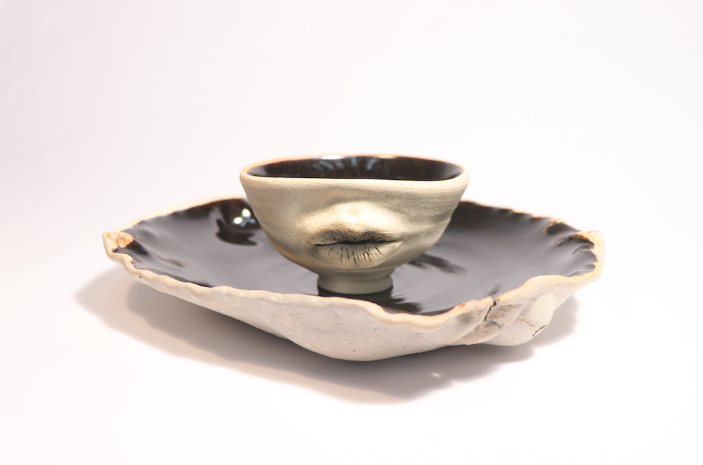Lips to Mouth to Table, Ceramics, Cone 6 Reduction, Plate: 9 x 8 x 1in, Bowl: 4 x 2.5 x 2.5in, 2017.