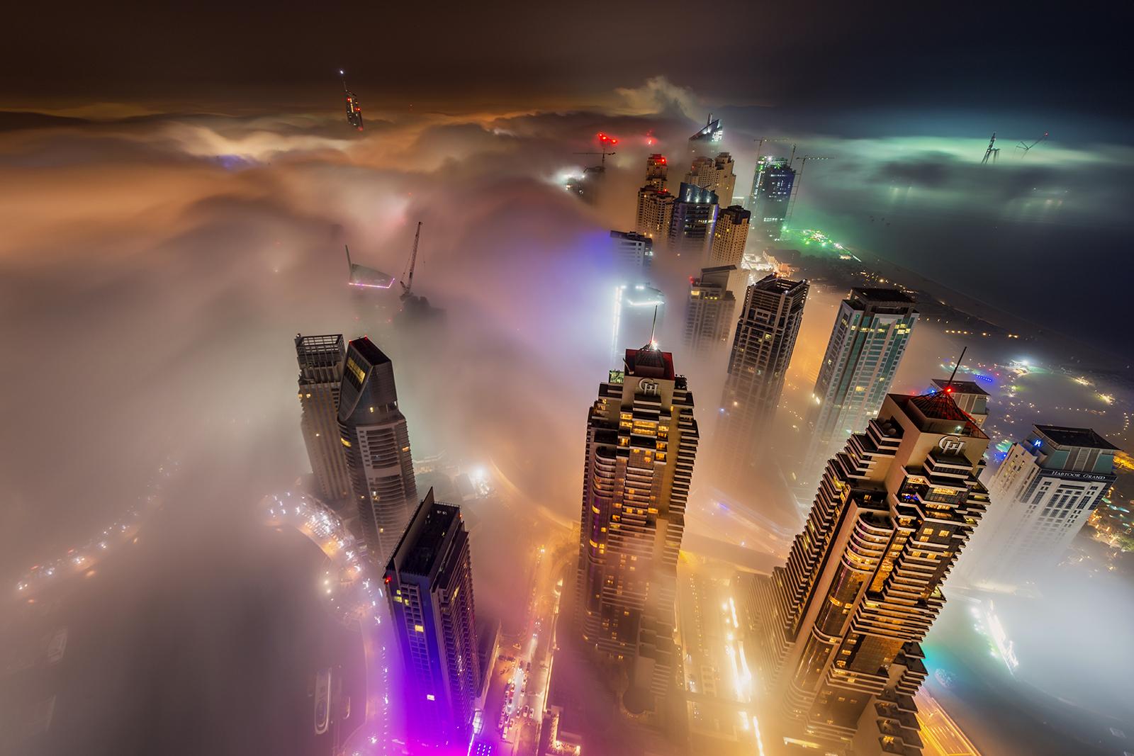 Dubai Marina fog at night