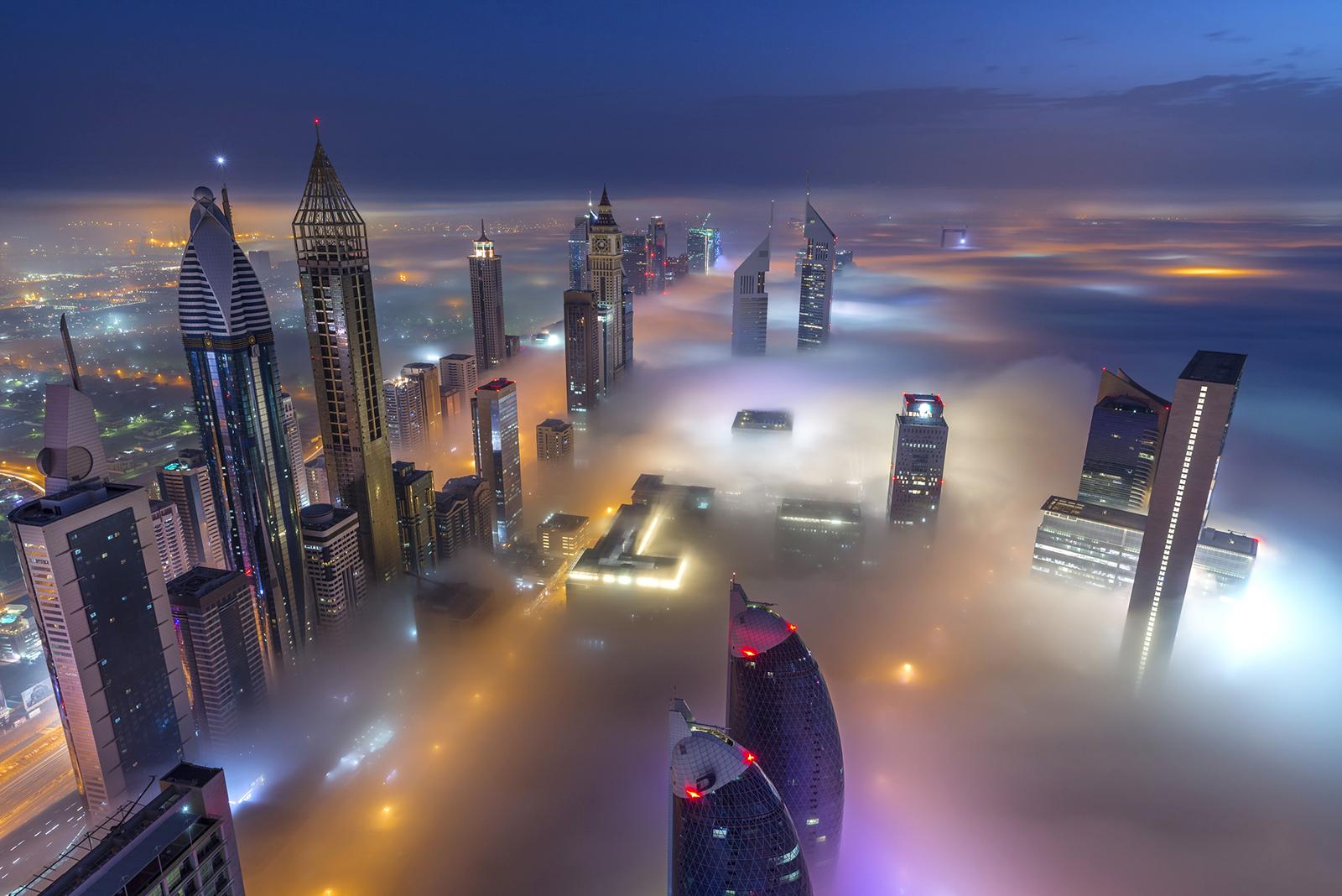 Dubai Downtown with fog
