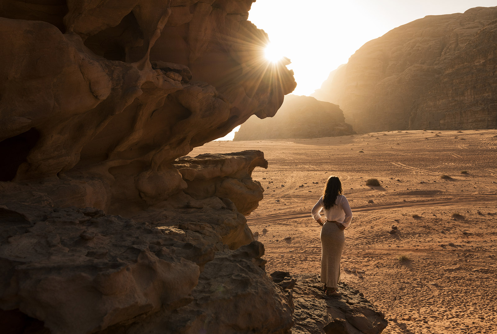 A girl standing at Wadi Rum