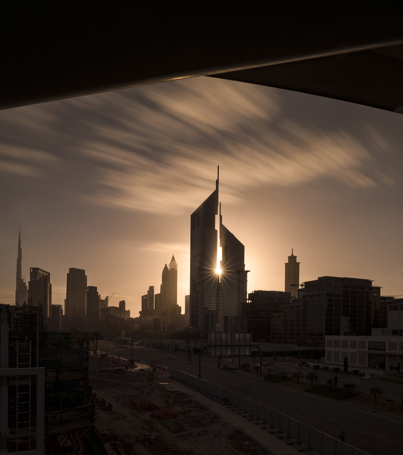 Emirates towers during sunset