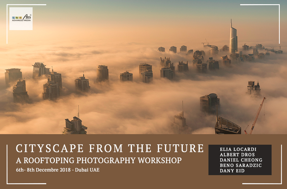 3 Days | Mar 8-10th 2018  Join Elia Locardi, Albert Dros, Dany Eid & Daniel Cheong for a unique workshop for 2 days in Dubai. 2 main rooftops access & deseert shootout including a digital blending course