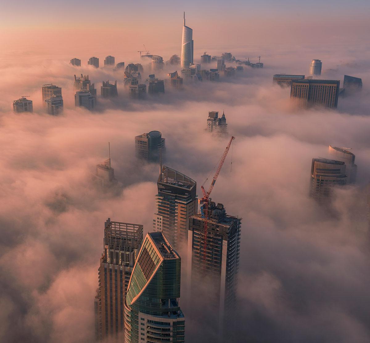 Dubai Marina fog image