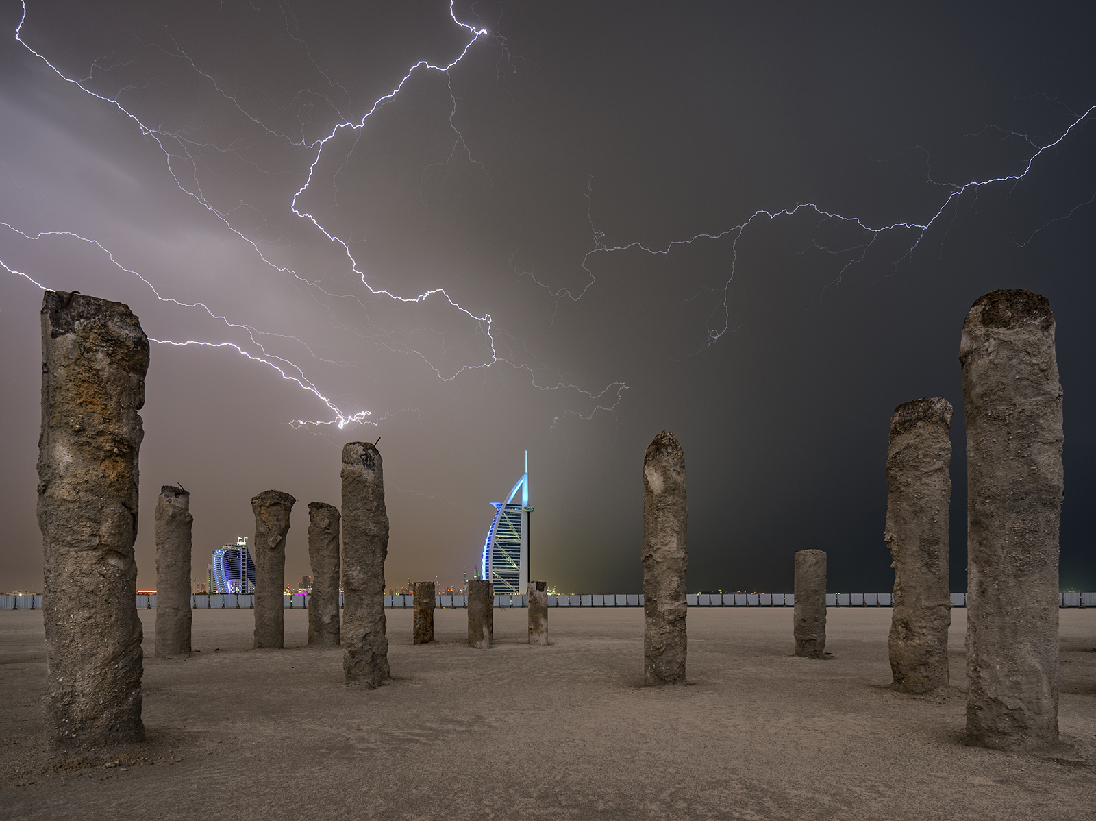 Lightning storm in Dubai