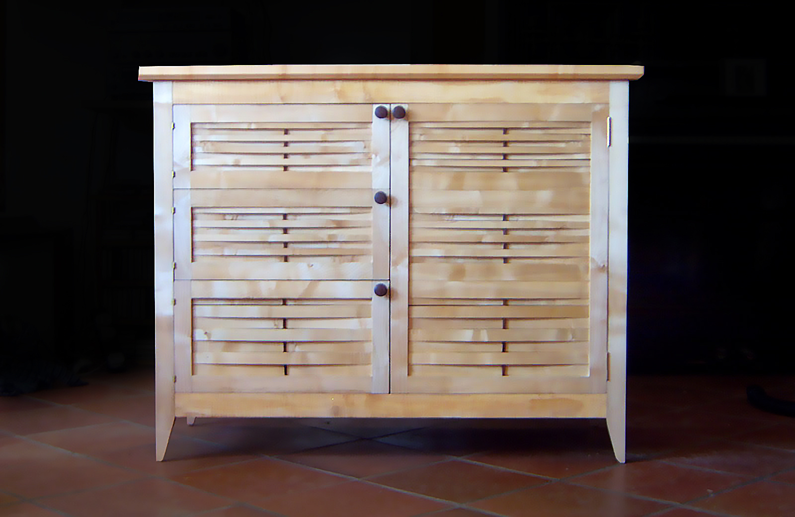 Cabinet made by commission with woven wooden front