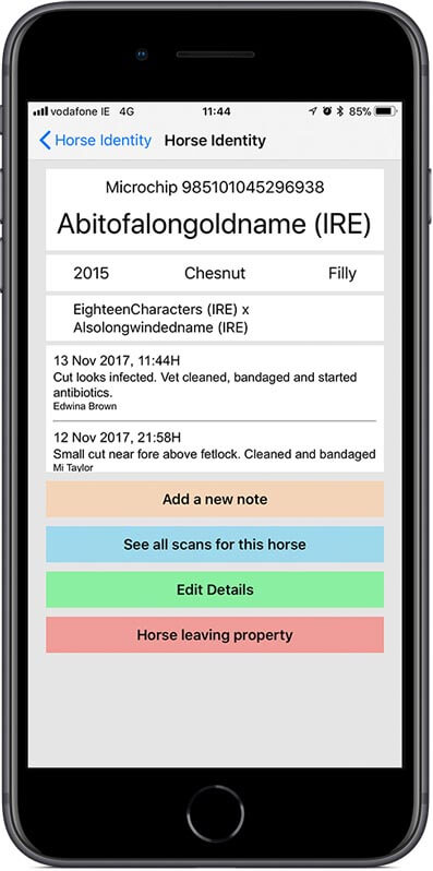After scanning the microchip, the App displays the horses name and any notes that have been made