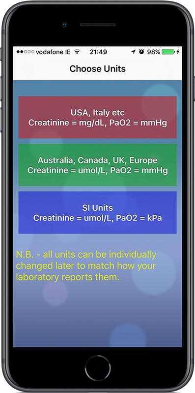 Choose the units used in your country or laboratory at start up.