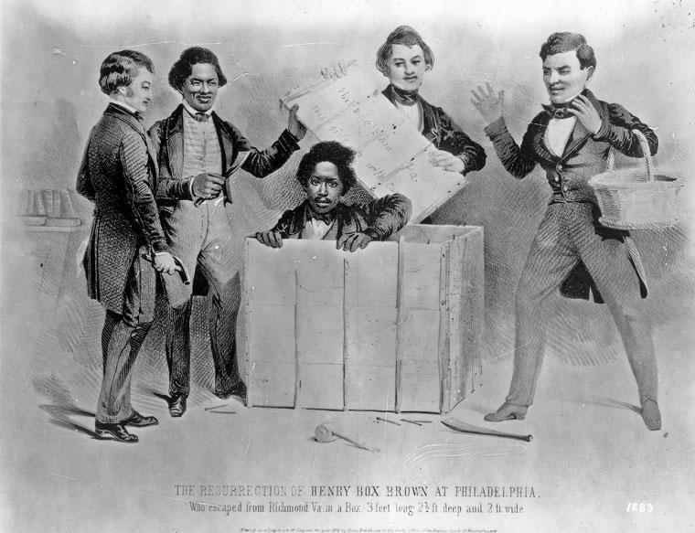 """""""The resurrection of Henry Box Brown at Philadelphia."""" Litografi fra 1850 av A. Donnelly."""