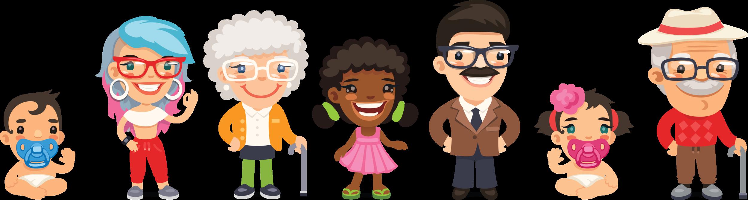 Figur 1: Statistikk kan si noe om hvor forskjellig noe er, slik som aldersforskjeller. I statistikk kalles dette spredning.