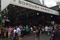BOROUGH MARKET for fresh Raclette cheese and pickles on potatoes