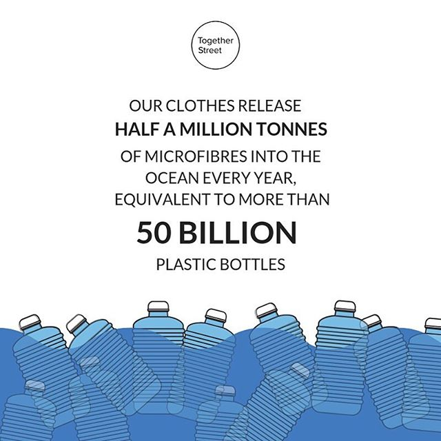 "Q: What's the biggest source of microplastics in the ocean? . . . A: Our clothes 👔👗👙 . . . Every time we wash clothing made of synthetic fibres like polyester, nylon or acrylic, millions of tiny pieces of plastic called microfibres are released. These end up in our waterways and eventually, our oceans, where they're ingested by marine life. According to the Ellen MacArthur Foundation we send more than half a million tonnes of these microfibres into the oceans every year; equivalent to more than 50 billion plastic bottles 🌊 . . . So what can we do? Here's three simple steps you can take to reduce plastic pollution cause by your clothes:  1. Reduce the plastic content of your wardrobe : check the label before you buy - If it's made of polyester, nylon or acrylic, give it a miss.  2. In the wise words of Stella McCartney: ""Basically, in life, a rule of thumb: if you don't absolutely have to clean anything, don't clean it."" Washing synthetic clothes too often reduces their lifespan and releases more microfibres. Don't wash unless you you have to!  3. When you do have to wash: 🧽 Use lower temperatures 🧽Don't overfill the machine 🧽 Use liquid detergent (this creates less friction during the cycle) . . . Have you got any other ideas to share? Tell us below and help inspire our community! . . . #plasticfreejuly #goplasticfree #zerowastetips #consciousconsumer #togetherstreet #smallstepsbigchange ⠀⠀⠀⠀⠀⠀⠀⠀⠀"