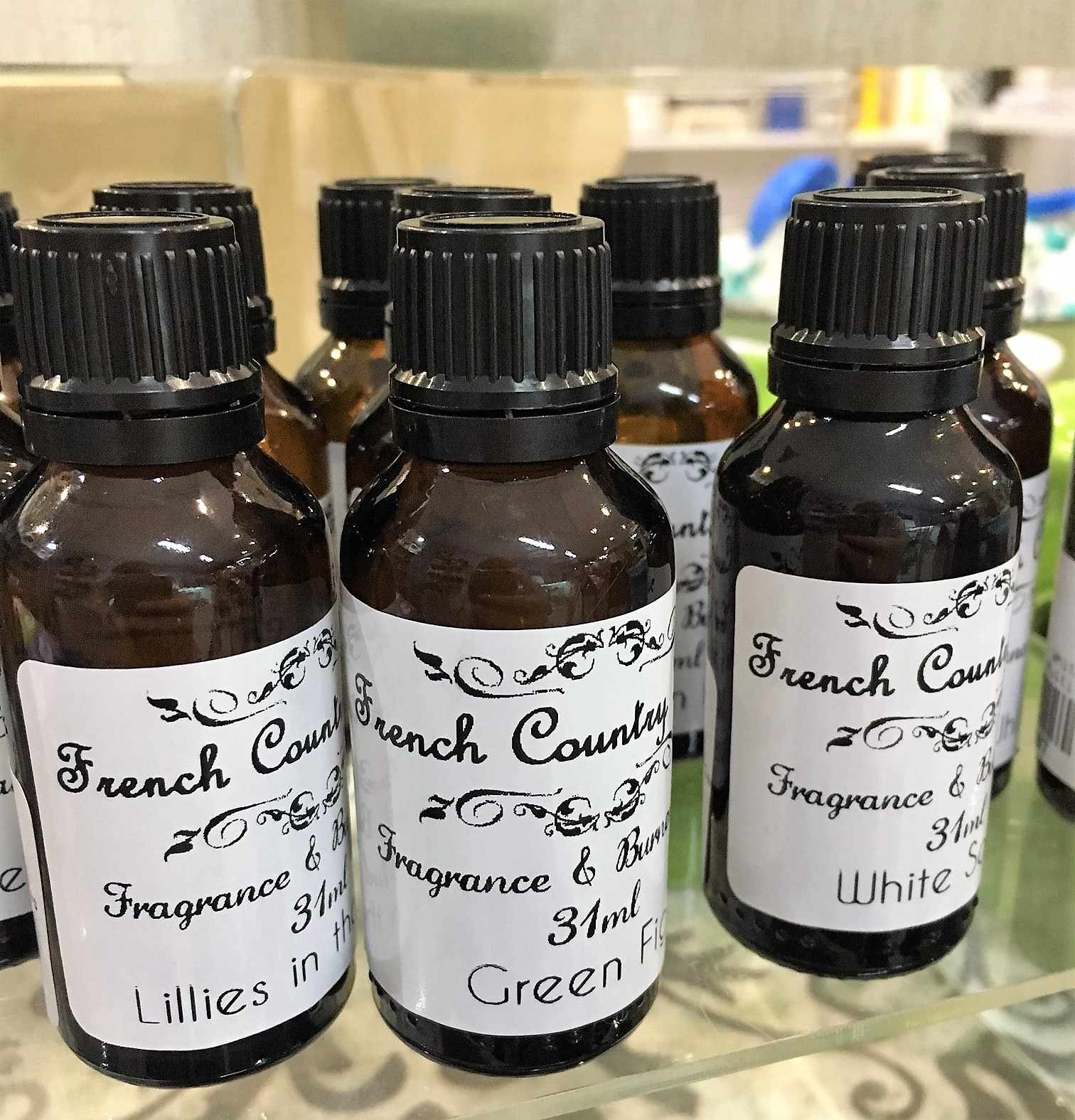 Burner Oil - Our popular burner oils come in both the 11ml and 31ml sizes. Use these in a burner with a tea candle to get a strong aroma through your home. Available in White Sand, Lillies in the Mist & Green Fig scents.