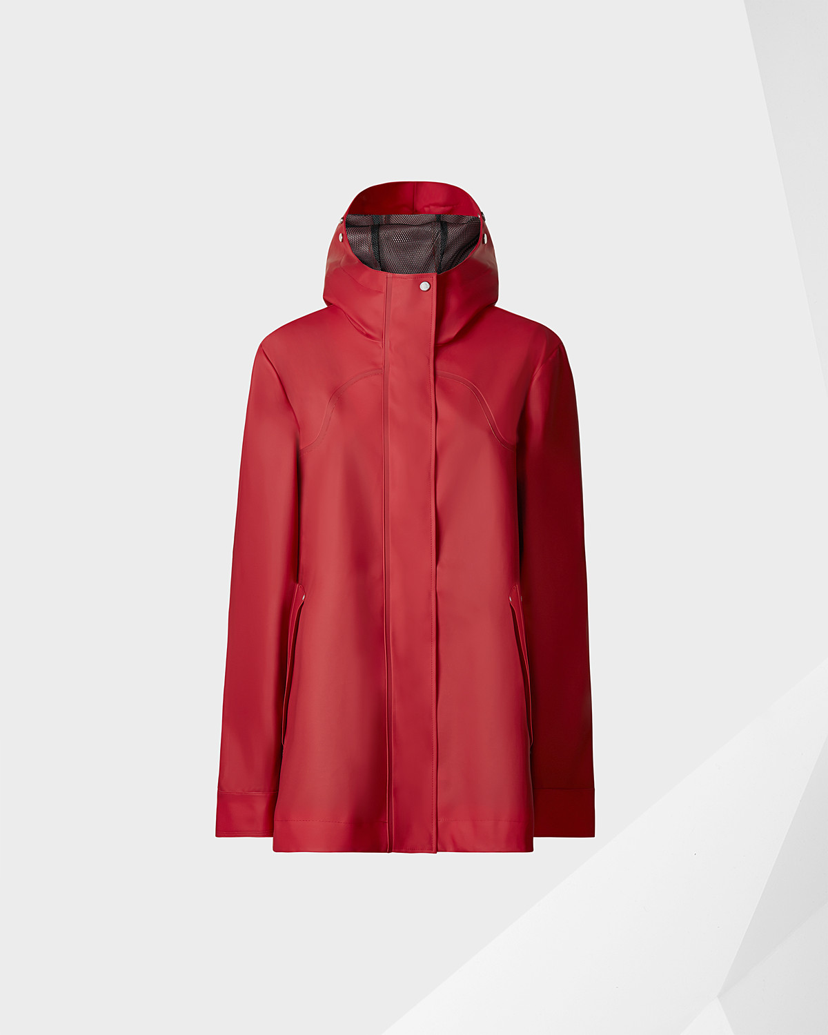 HUNTER - Look stylish in this red women's original rubberised smock, fully waterproof as you would expect from Hunter.