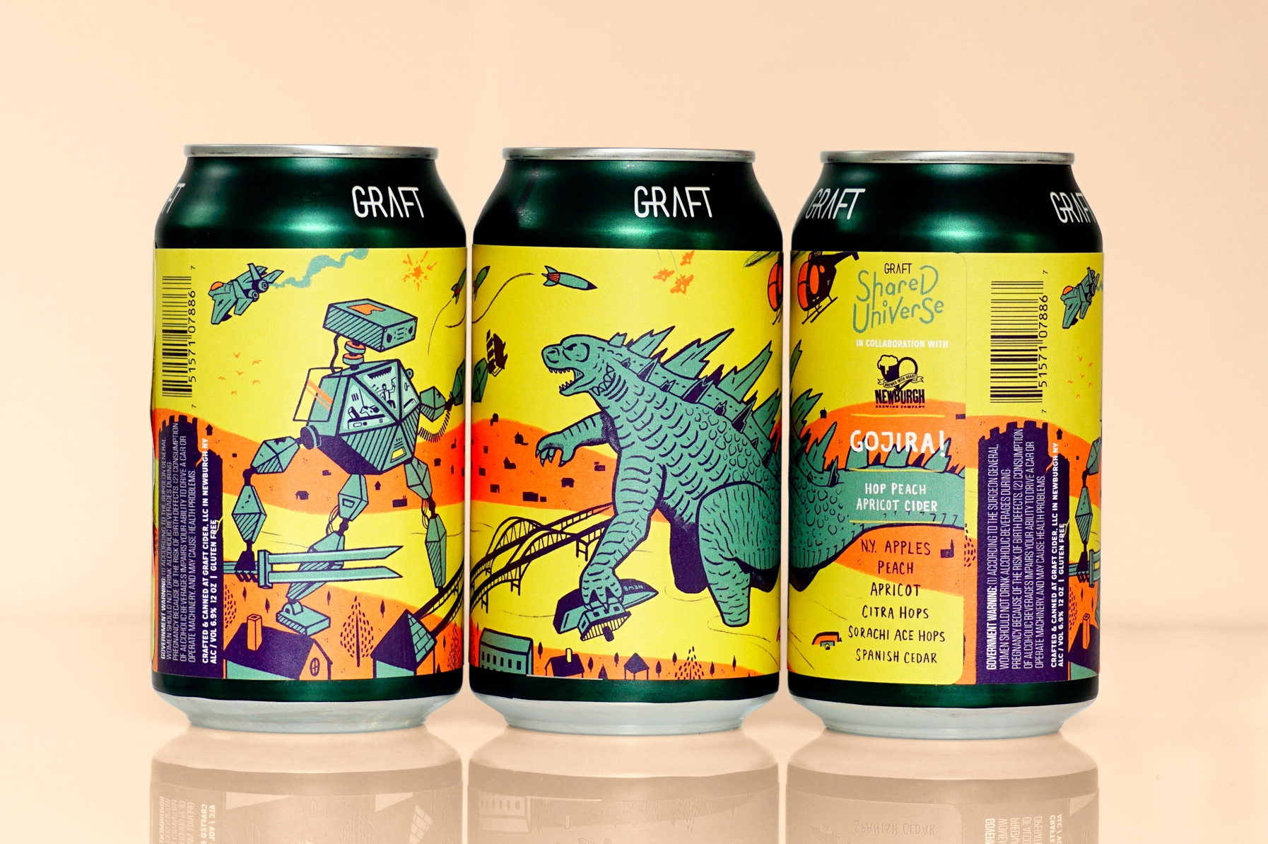 GOJIRA! - OCTOBER 2018 I NEWBURGH BREWING CO.While origins remain foggy, many suspect the beast was born out of neglect towards our planet after years of nuclear testing. Nearby military bases deny any connection, but were first to call upon Nomad and Dog for help. His skin seems to deflect all firepower...when provoked, he expels white-hot magma and his gruesome roars are ear-splitting. Who will find what it takes to strike Gojira down and end this madness?NOTES: Dry hopped peach & apricot cider with Citra & Sorachi Ace hops and aged on Spanish Cedar.
