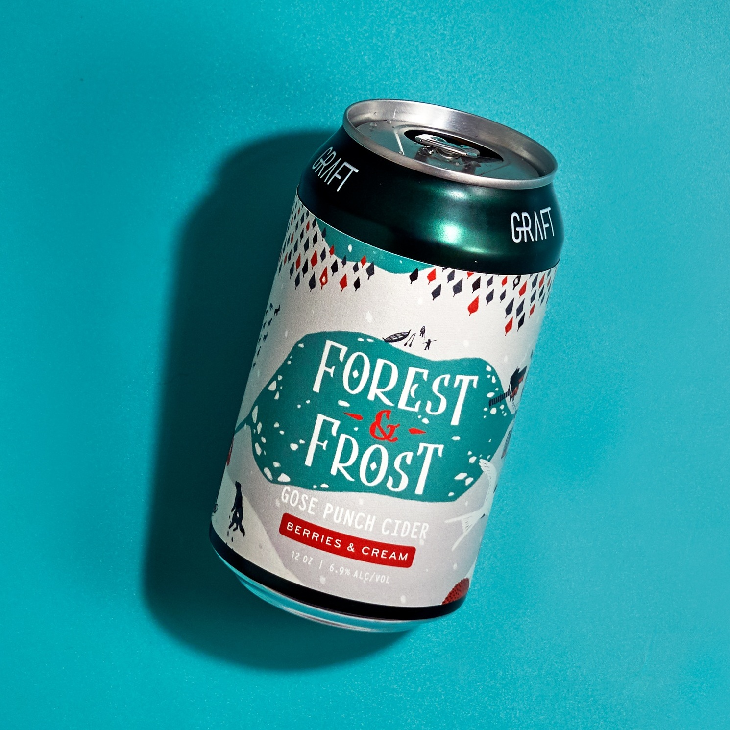 FOREST & FROST  I Berries & Crem Winter punch gose cider with hibiscus, vanilla, orris root & pink sea salt.  #BerriesAndCream    WINTER  I   DEC - FEB    INGREDIENTS  I NY Apples, hibiscus, vanilla, orris root & sea salt.  NUTRITION  I 6.9% ABV • 0g Sugar • 2g Carb • 140 Cal • Gluten Free!