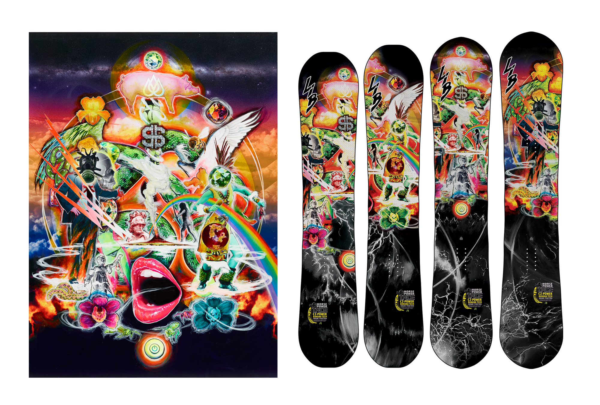 Various Lib Technologies snowboard graphics 2004 - 2016. Collaboration with Travis Rice & Mike Parillo
