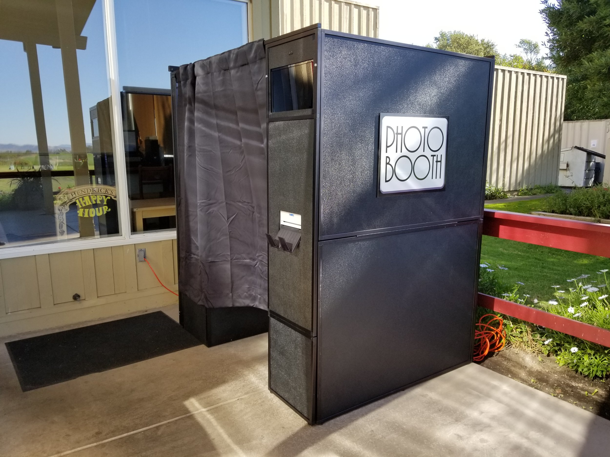 Enclosed Photo Booth - With or without side slideshow monitor this is a classic photo booth. Spacious in size, can 4-6 people at a time.Footprint: 6'x5'