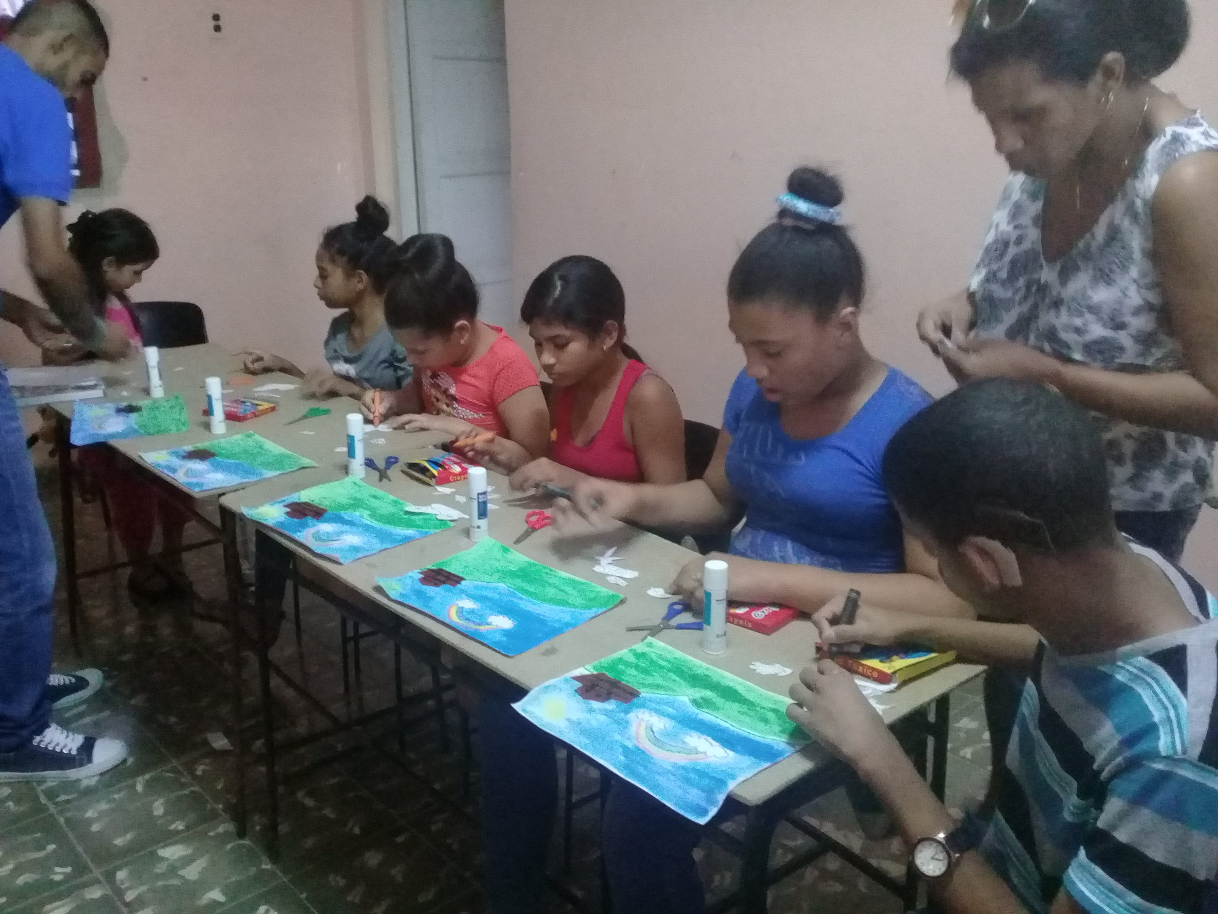 Deaf youth putting bible stories into crafts