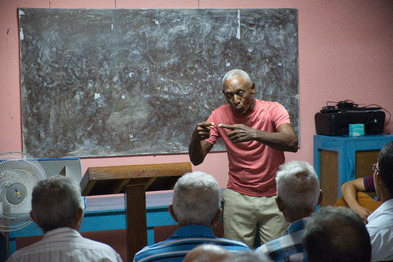 Manuel sharing his testimony