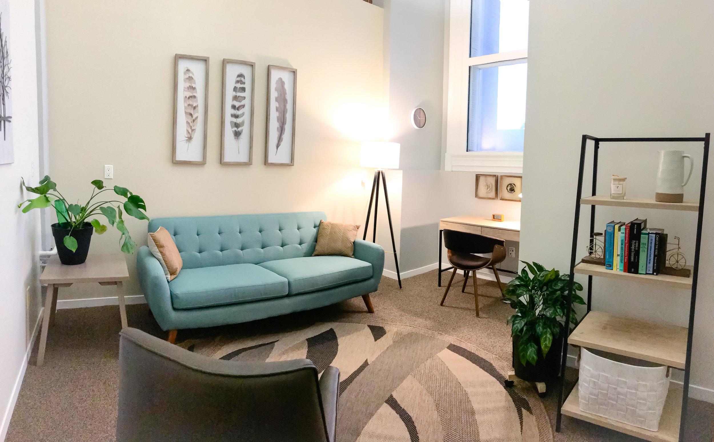 Reconnect & Heal. - Our spacious offices boast high ceilings, have lots of natural light, new furnishings and filtered water and tea to support you in your therapeutic process.