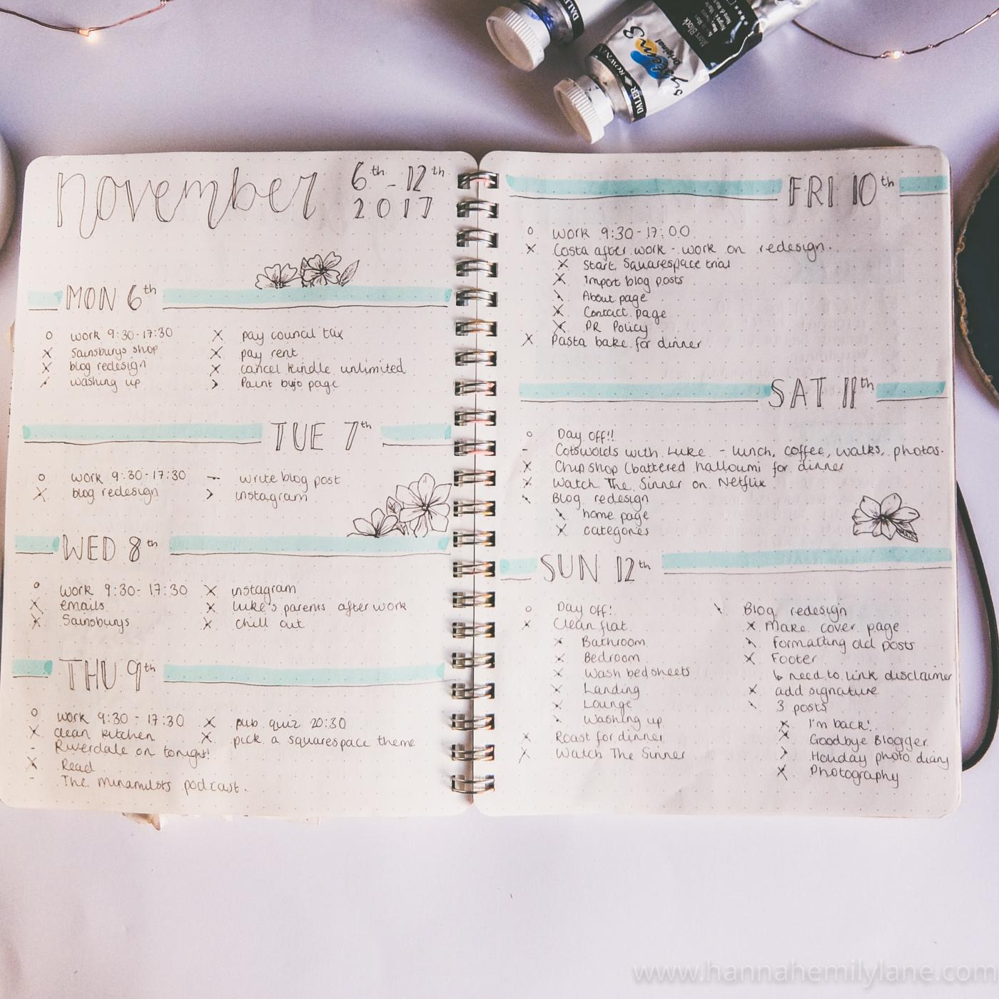 How I Used My Bullet Journal In November | www.hannahemilylane.com