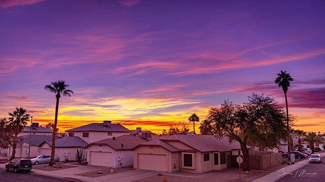 The sunrise over Glendale, Arizona from my bedroom window. . . . #instagramaz #az365 #azfamily #az #goexploreaz #arizonalife #arizonahighways #igsouthwest #visitarizona #cbs5az #beon12 #fox10phoenix #nikonD750 #haidafilters #unrealaz #onlyinaz #onlyinaz2018 #desertlife #exploreaz #azlife #azcentral  #everythingarizona  #clouds #sunrise #arizonaisgorgeous #glendale #palm #palmtree