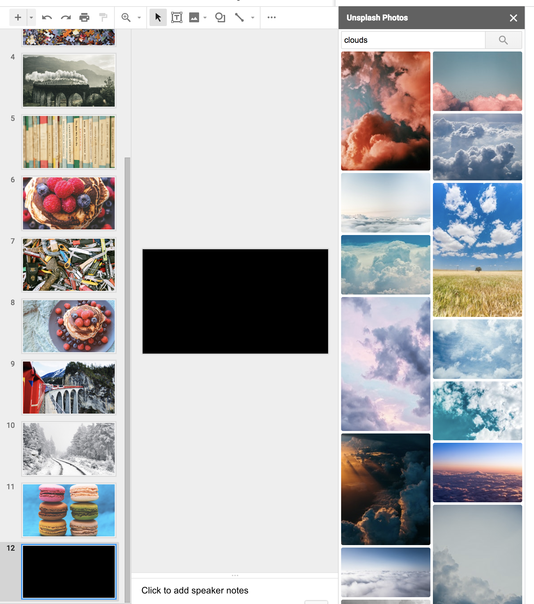 The unsplash add-on open on a slide deck that's just a bunch of unsplash images. The macarons image is the second to last slide.