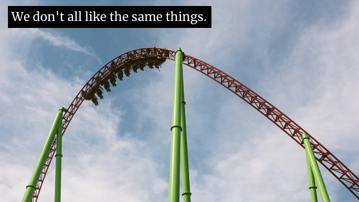 "But it's like those signs at carnivals: ""You must be this tall to go on the rollercoaster"". ""Ok, I'm tall enough, but that looks horrible.""  ""You must be this socially competent to be a manager."" I am, but that is not my idea of a good time!  I have my own metric for it. If you code, you get better at coding. If you manage people, you get better at managing people.  So…"
