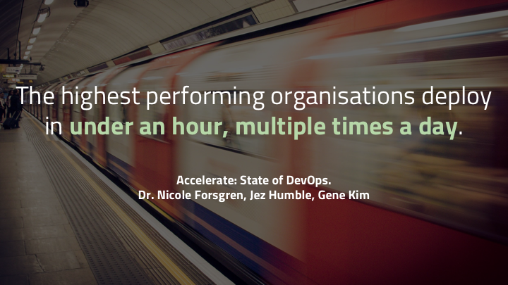 ...the  State of DevOps  report (which I recommend reading) high performing teams do move quickly. The report says that highest performing companies deploy  46 times  as often as the lowest performing. They can push in under an hour and roll back really quickly.   There's a ton of advantage and flexibility to being able to move quickly. You can respond to things your customers want. You can take small risks, secure in the knowledge that you can recover quickly if there's a mistake. It's great to be able to go fast. So long as you're going in the right direction.   But if you're going in the wrong direction, going fast just makes you wronger. As Peter Drucker famously said..