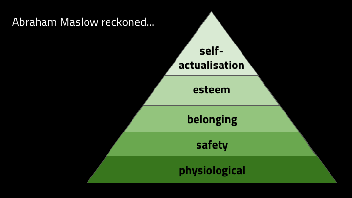 "In 1943, Abraham Maslow wrote this paper called ""A Theory of Human Motivation"". He laid out this hierarchy of needs: we have physiological needs first -- food and air and broadband internet and so on -- and if we have enough of that, we look for safety, then friendship and belonging, then esteem of ourselves and others and then self-actualization.   And then in  2009 , Daniel Pink built out the ""self-actualization"" part of that. He says that when it comes to creative work needing decision making, human motivation comes from three things:"