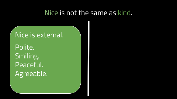 Nice is about your externally visible demeanor. It's about being polite and smiling at people, making peace and being agreeable. Nice is great! Do be nice when you can. But kind is more than that. Kind is more active.