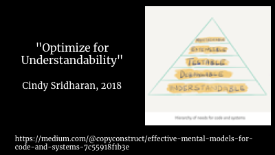 "As Cindy Sridharan says in her article, ""E ffective Mental Models for Code and Systems "",  understandability  should be our highest priority.     And if you don't understand the system while sitting in a quiet room with a cup of tea reviewing a document that is  intended to describe the system ..."