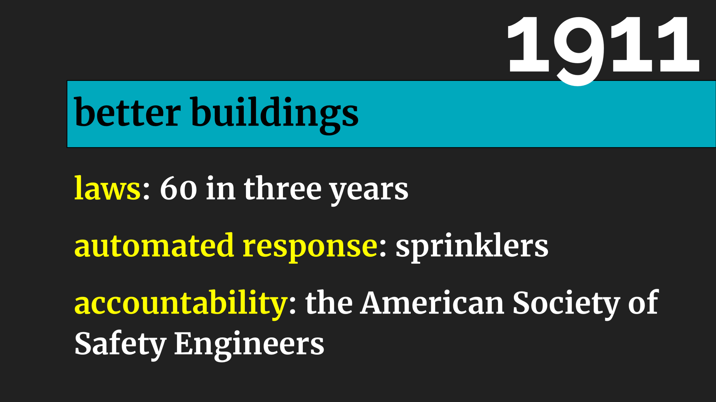 But more importantly, building conditions took a big step forwards. There were  60 new laws  over the next three years. Again, everyone knew factories were bad. But, again, the law didn't change until  a bunch of people died ON THE ISLAND OF MANHATTAN.      Sprinklers started to be required in factories. (But only factories over seven stories tall. Very specific again.)     A professional organisation, the American Society of Safety Engineers (which still exists), was founded.