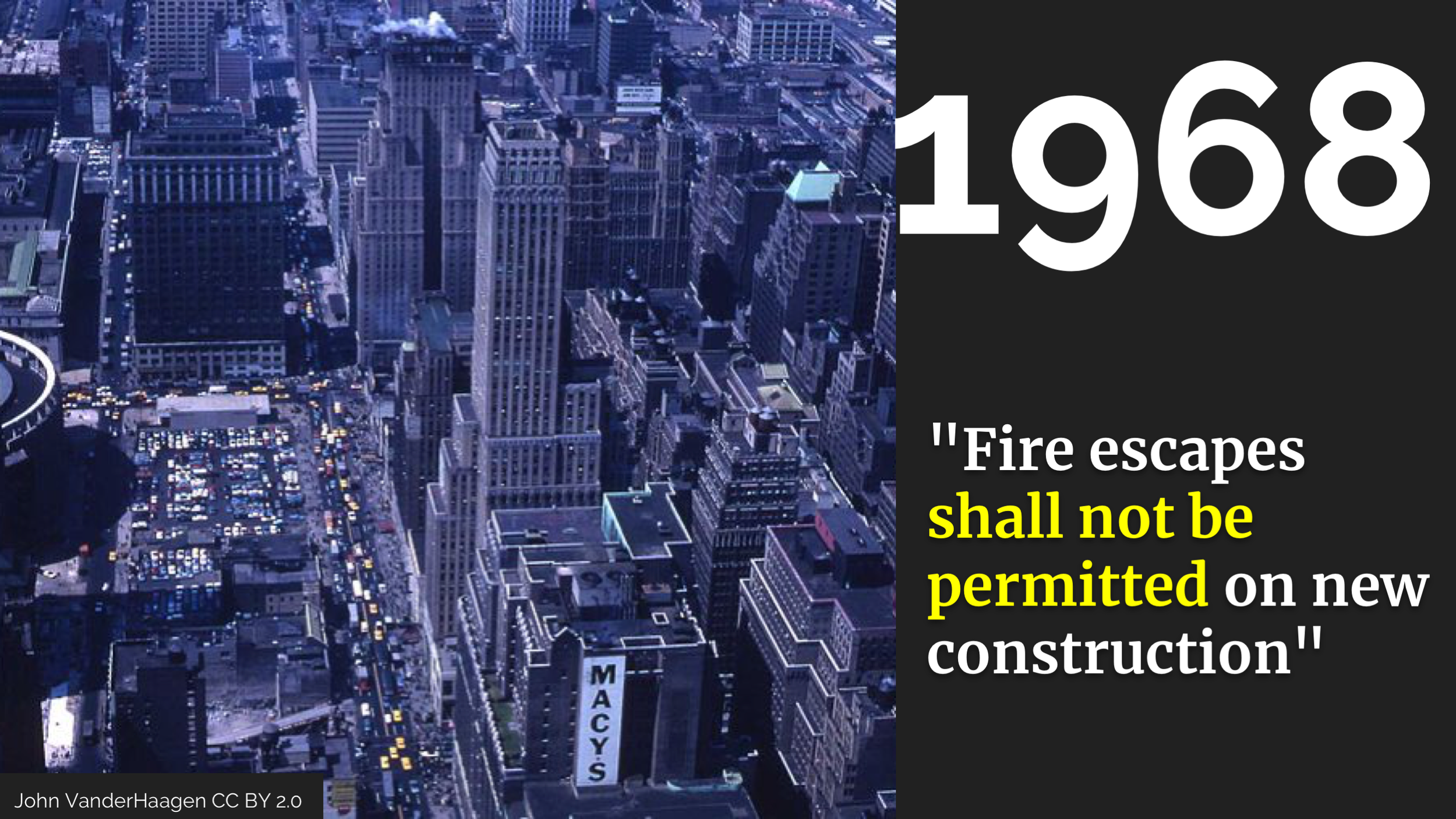 "The idea of building better buildings gained traction and in 1968 fire escapes stopped being allowed at all. The code still says ""Fire escapes shall not be permitted on new construction"".     The 1968 code also required sprinklers for hotels and high-rise office buildings, but not nightclubs or residential buildings."