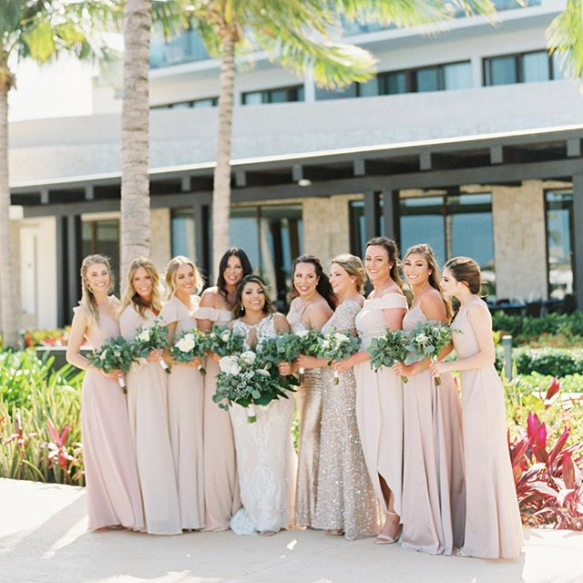 Bianca + her girls looking flawless in that beach breeze 😻 this #destinationwedding was one for the books, and we had so much fun capturing all of the love these guys share with their friends and family. I can't wait to show you more, coming soon to @inspiredbythis #athomasphotography #contax645 #fuji400h