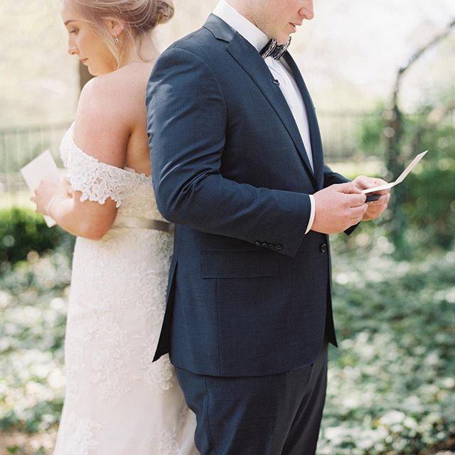 Carissa + Shawn reading love notes aloud to one another before their #firstlook...one of my favorite parts of their spring #weddingday. More coming to the blog soon! #athomasphotography #contax645 #fuji400h