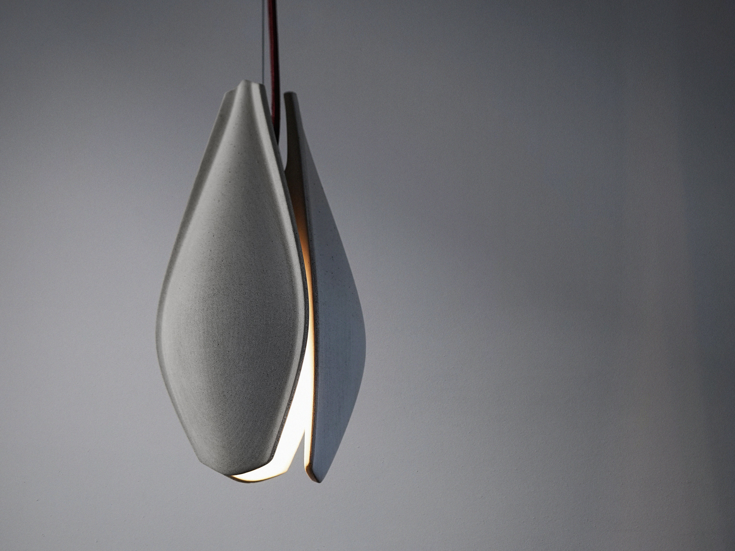 Light Grey Concrete Pendant with whine-red, threaded electric cord