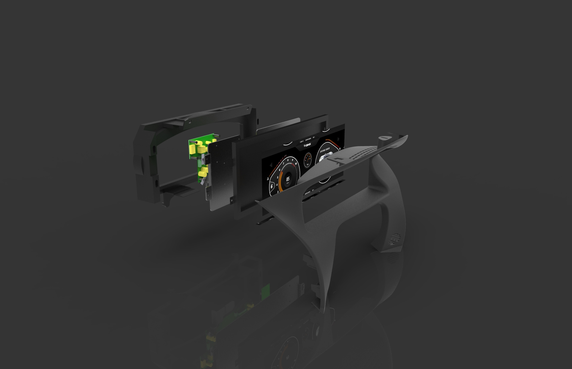 Jaguar Instrument Cluster Exploded View Render